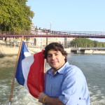 student on a boat new to a french flag