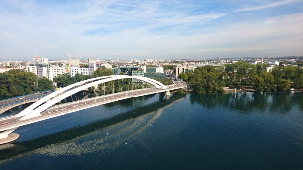 View of Confluence Lyon bridge Raymond Barre