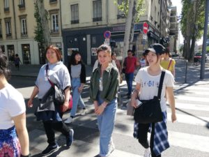 Students on a cultural outing in Lyon, France