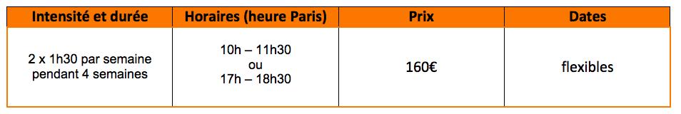 Offre de cours de français semi-intensif virtuels : 2 x 1h30 par semaine pendant 4 semaines, de 10h à 11h30 ou de 17h à 18h30, pour 160€, les dates flexibles