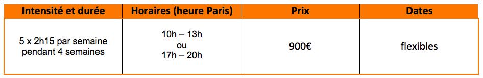 Offre de cours de français - préparation à l'université à distance : 5x2h15 par semaine pendant 4 semaines, de 10h à 13h ou de 17h à 20h, pour 900€, les dates flexibles