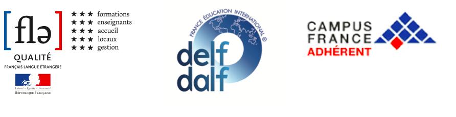 Etiqueta del logotipo Qualité FLE, DELF et DALF, miembro de Campus France