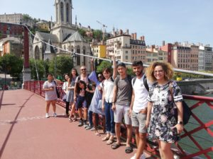 Students visiting the city centre of Lyon in France