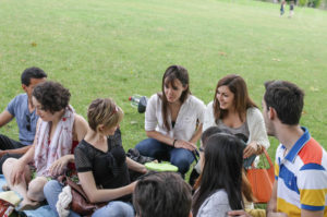 International students having a picnic